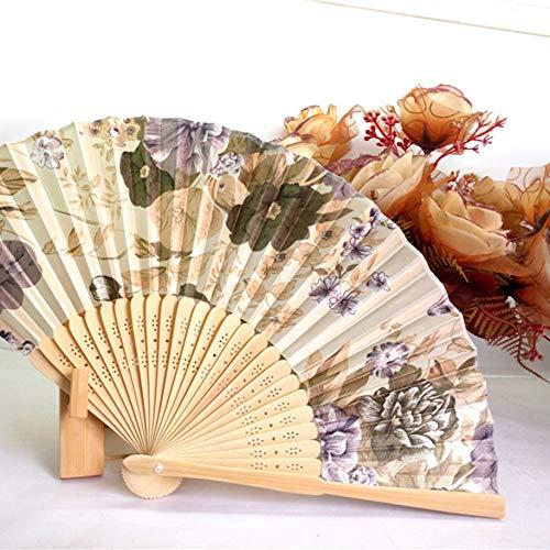 Ventilador portátil, japonés, Abanico Plegable de Mano para Mujeres n. ° 8, Hermoso Abanico de satén de Color Cereza con Marco de bambú