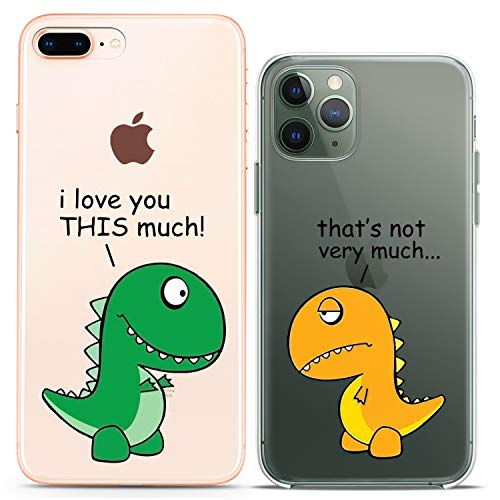 Cavka Matching Couple Cases Compatible with iPhone 12 Pro 5G Mini 11 Xs Max 6s 8 Plus 7 Xr 10 SE X 5 Clear Gift Cute Dinosaur Funny T-Rex Girlfriend I Love You Animal Silicone Cover Adorable Friend