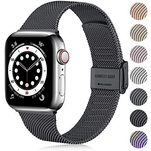 Ouwegaga Ersatz Armband Kompatibel mit Apple Watch Armband 38mm 40mm 42mm 44mm SE, Klassisches Edelstahl Metall Armband Kompatibel mit iWatch Series 6 5 4 3 2 1,42mm/44mm Schwarz