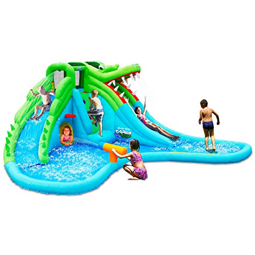 GOFLAME Inflatable Water Slide, Crocodile Theme Inflatable Water Park with Two Slides, Climb Wall, Splash Pool, Water Cannon, Tunnel, Kids Bounce House with Carry Bag, Stakes (Without Blower)