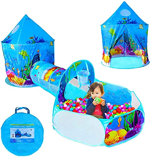 LENI 3 In 1 Kids Play Tent with Play Tunnel, Ball Pit, Basketball Hoop for Boys & Girls, Toddler Pop Up Playhouse Toy for Baby Indoor/Outdoor ,Ocean Castle Play Tent(Ocean 3 Set)