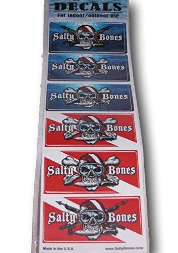 ISC Aufkleberset Salty Bones Auto Bumper Sticker Taucher Diver
