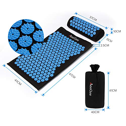 Acupressure Mat & Pillow Set MeeQee Acupuncture Massage Mat for Back/Neck Pain Relief Stress Reduction Massage Therapy Yoga Pad for Back Foot Treatment with Carrying Bag