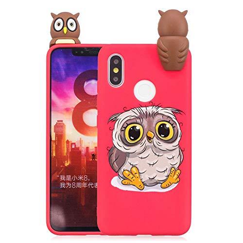 LAXIN Cute owl Case for Xiaomi Mi 8,Soft 3D Silicone Case,Cute Fruit Rubber Cover,Cool Kawaii Cartoon Gel Cover for Kids Girls Boys Men Woman Fun Soft Silicone Shell