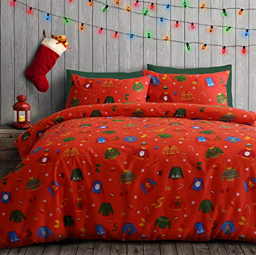 BB XMAS Jumpers Fun Christmas Duvet Cover Bedding Set (Double)