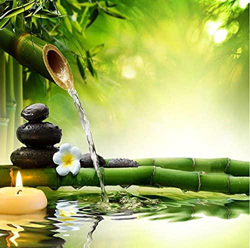 Papel tapiz fotográfico 3D para sala de estar, TV, telón de fondo, bambú verde, agua que fluye, paisaje natural, decoración de interiores, pared -200 * 140 cm