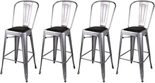 GIA High Back Armless Metal Bar Chair, 4-Pack, Black