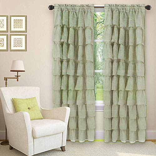 """LinenTopia 2 Panels Crushed Gypsy Ruffle Sheer Window Curtain Panels 63"""" Length, Semi-Sheer Voile Rod Pocket Horizontal Crushed Gypsy Ruffled Curtains For Living Room