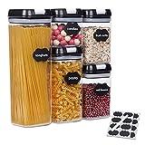 SUCHDECO Luftdichte Frischhaltedosen-Sets von 5, Kunststoff Lebensmittelbehälter mit Luftdichten Deckeln, Ideal für Küche, Lebensmittel, Zucker, Nudeln, Kekse, Getreide, Mehl