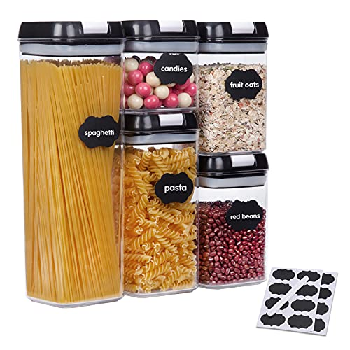 SUCHDECO Airtight Food Storage Containers Sets of 5, Plastic Food Containers with Airtight Lids, Ideal for Kitchen Food Sugar, Pasta, Biscuits, Grain, Flour, Boxes Containers Keep Food Fresh Dry