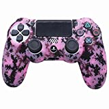 Pink PS4 Controller Skins RALAN, funda de silicona para controlador compatible con PS4 Slim/PS4 Pro Controller (Pink Pro Thumb Grip x 6, Skull Cap Grip x 2) (rosa mosaico)