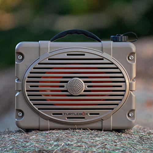 Turtlebox: Loud! Outdoor Rugged Bluetooth Speaker ~ Up to 50+ Hour Charge | IP67 Waterproof & Dustproof. (Plays up to 120db. Pair 2X for True Stereo), Single Speaker - Field Tan
