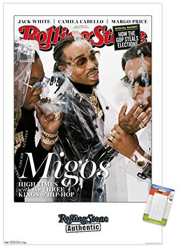 Trends International Rolling Stone Magazine - Migos 18 Wall Poster, 22.375' x 34', Premium Poster & Mount Bundle