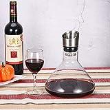 Cooko Wein Dekanter Belüfter, Wein Breather Karaffe mit Ausgießer Deckel, Mundgeblasenem Kristall Dekantierer, Luxus Wein Zubehör für Geschenk (1500ml) - 6