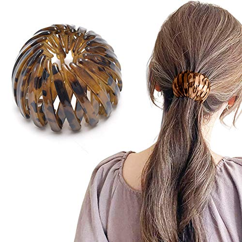 Ponytail Hairpin Curling Iron, 2021 Fashion Retro Leopard Print Hairstyle Headbands Fashion Bird's Nest Hairpin Ball Hairpin Expandable Ponytail Holder Bird Nest Shaped Hair Clips Hair Claw Clamps (D)