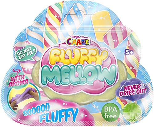 CRAZE Fluffy Mellow Zipbag Duftknete Duft Masse luftige weiche Knetmasse Knete wiederverschließbar 21248, Pastellfarben
