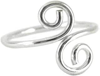 California Toe Rings Women's Sterling Silver Double Swirl Wire Wrap Adjustable Toe Ring One Size Fits All