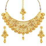Sukkhi Traditional Gold Plated Wedding Jewellery Choker Necklace Set For Women (N71789GLDPM1250)