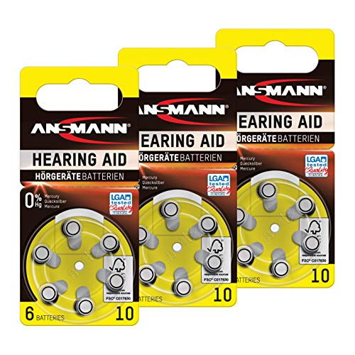 ANSMANN Hörgerätebatterien 10 gelb 18 Stück - Zink Luft Hörgeräte Batterien Typ 10 P10 ZL4 PR70 mit 1,4V - Knopfzelle mit besonders langer Laufzeit für Hörgerät Hörverstärker & Hörhilfe