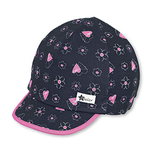 Sterntaler Baby-Mädchen Schirmmütze Herz-und Blumen-Motiven Mütze, Blau (Marine 300), (Herstellergröße: 45)