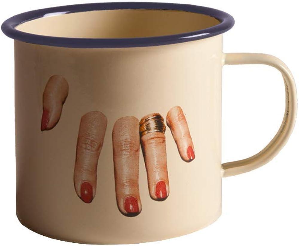 Seletti, tazza in metallo smaltato toiletpaper ,Ø cm.10 h.9 20496