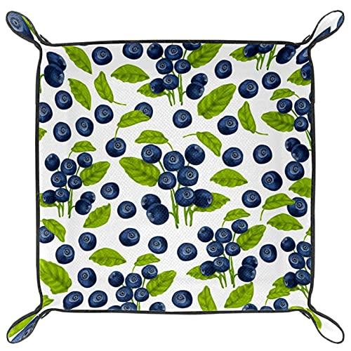 Blueberry Plateau de rangement en cuir avec motif sans couture pour bijoux, accessoires, table de chevet ou entrée, maison ou bureau