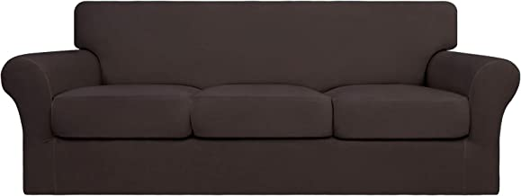 Best Easy-Going 4 Pieces Stretch Soft Couch Cover for Dogs - Washable Sofa Slipcover for 3 Separate Cushion Couch - Elastic Furniture Protector for Pets, Kids (Sofa, Chocolate) Review