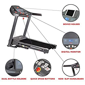 Sunny Health & Fitness T7643 Heavy Duty Walking Treadmill with 350 LB Max Weight, Tablet Holder, Shock Absorber, Wide Belt and Folding