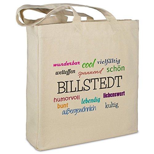 Stofftasche mit Stadt/Ort 'Billstedt ' - Motiv Positive Eigenschaften - Farbe beige - Stoffbeutel, Jutebeutel,...