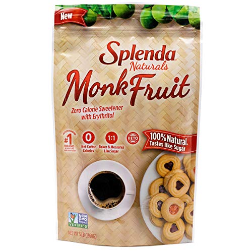 Splenda Naturals Monk Fruit Zero Calorie All Natural Granulated Sweetener - 3 Lb Bag, Resealable, 3 Lb