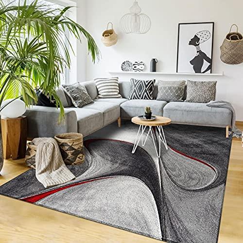 UN AMOUR DE TAPIS 120x170 Tapis Salon Moderne Design Graphique Poils Ras - Grand Tapis Salon Rectangulaire - Tapis Chambre Turquoise - Tapis Rouge Gris Noir
