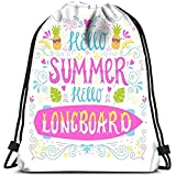 Vince Camu Sac à Dos à Cordon Bright Quote Hello Summer Hello Longboard Yoga Runner Daypack Sacs à Chaussures