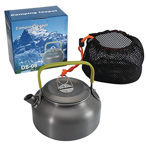 Sweet&rro17 Outdoor Camping Hiking Kettle Coffee Pot 0.8L Aluminum Portable Teapot Kettle, Survival Water Kettle for Camping Hiking Picnic
