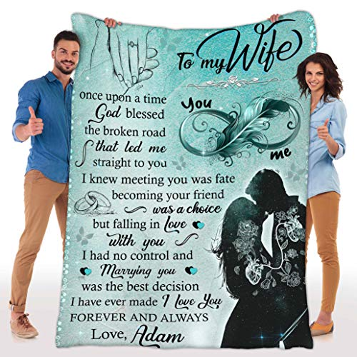Customized Fleece Blankets for Wife with Husband's Name, Best Gift for Your Life Partner with Quotes, Valentine's Day Gifts, Birthday Gift, for Wife, Supersoft and Cozy Blanket (BK4140)