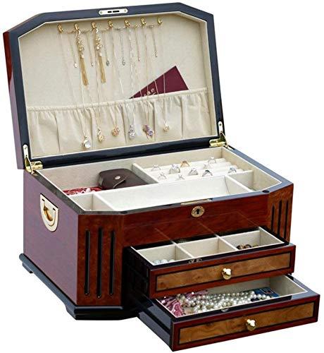 Caja de almacenamiento de joyas de madera hecha a mano de alto grado con cerradura para el presente boda de cumpleaños - Rojo del vino