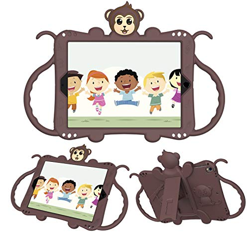 JCTek Protective Kids Case for Suitable for iPad Air/iPad Air 2 Case (9.7'), Cute Cartoon Monkey Shockproof Handle Stand Shoulder Strap Kids Case (brown)