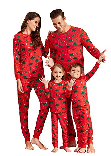 Yaffi Family Matching Christmas Pajamas Set All Over Dinosaur Print Top and Pants PJS Sleepwear for Kids Adult One-Piece: 9-12 Months