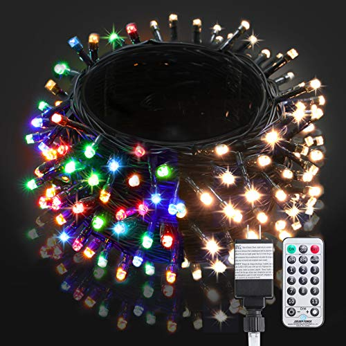 BlcTec LED Christmas Lights 99ft 300 LED Color Changing Christmas Tree Lights Warm White & Multi Color, UL Approved 11 Modes Outdoor Fairy String Lights with Remote Control for Party Decorations