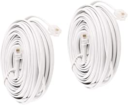 Uvital 33 Feet Telephone Landline Extension Cord Cable Line Wire with Standard RJ-11 6P4C Plugs(White 10M,2Pack)