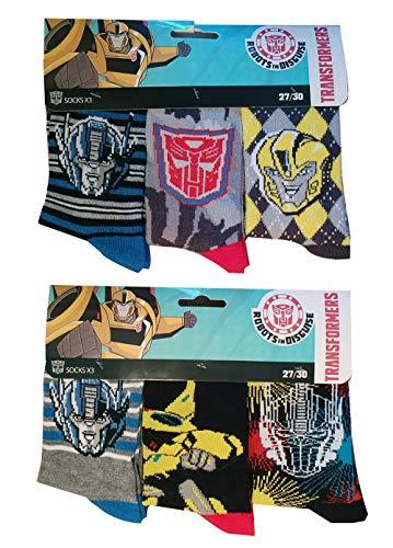 Transformers Robots in Disguise kindersokken kousen met de Autobots Bumblebee, Optimus Prime en Transformer Logo, in een set van 6 voor jongens
