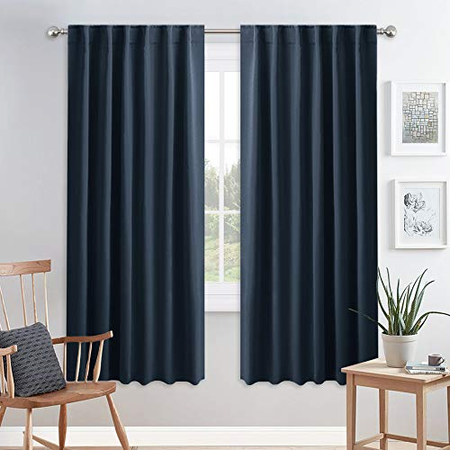 PONY DANCE Blackout Curtains for Bedroom - 72 Inches Length Thermal Insulated & Privacy Rod Pocket Curtain Drapes for Kitchen Home Decoration, 52 W x 72 L, Navy Blue, 2 Pieces