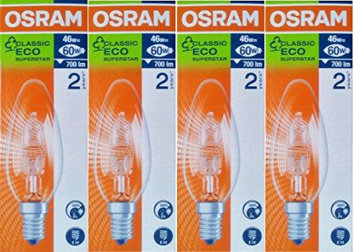 4x Osram Classic Eco Superstar 46W (= 60W) Kerze SES E14-Halogen Leuchtmittel, kleine Edison-Schraube, 64543B, dimmbar Lampen, 700Lumen, 240V