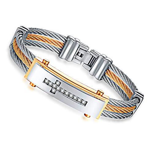 LFWQ Europese en Amerikaanse mode drie rijen van draad armbanden tussen goudkleurige diamant kruisvormige armbanden Europese en Amerikaanse armbanden