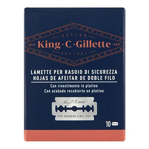 King C. Gillette - Cuchillas de repuesto para maquinilla de afeitar de seguridad para hombre, paquete de 10 cuchillas de acero inoxidable