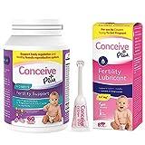 Conceive Plus Women's Fertility Bundle Prenatal Vitamins 60 Count and Fertility Lubricant Applicators 8 x 4gram
