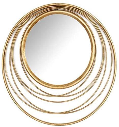Miroir de maquillage LHY- Creative Miroir Rond De l'art Déco, La Décoration Murale Portail Intérieur des Vêtements Suspendus du Salon Miroir La Mode