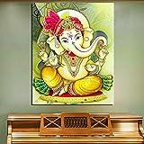 KWzEQ Ganesha Lienzo Sala de Estar decoración del hogar Moderno Arte de la Pared Pintura al óleo Poster Art,Pintura sin Marco,40x50cm