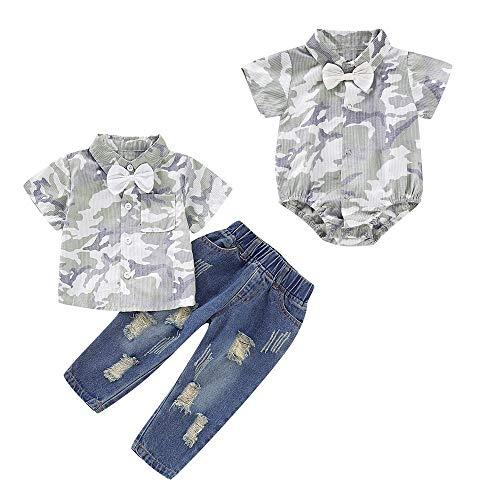 puseky Baby Jongen Kleine Broer Grote Broer Bijpassende Outfits Camouflage Bow Tie Shirt Tops Jeans Broek Set