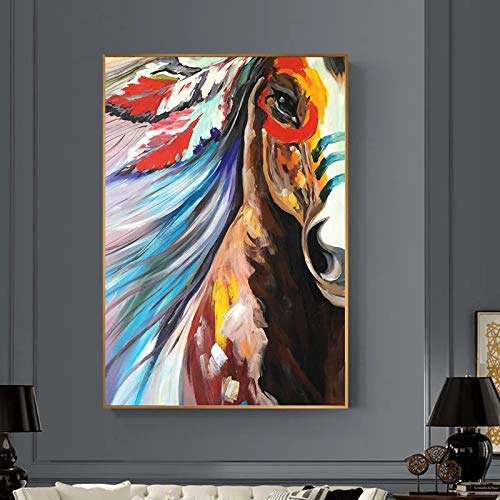 JHGJHK Abstract horse head oil painting on canvas wall art frameless painting decoration living room home decoration gift