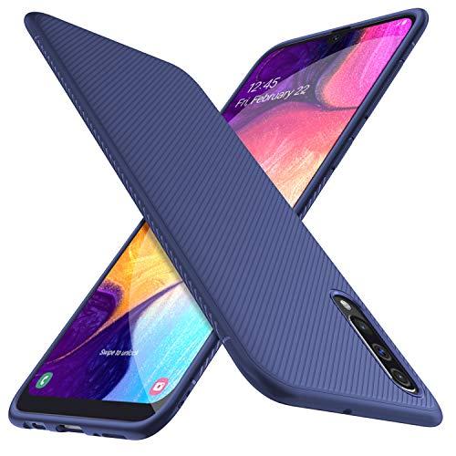 HOUROC Funda Samsung Galaxy A50, Funda Protectora de TPU Ultra Suave y Ultra Delgada como Antideslizante a Prueba de Golpes, Delgada Pero Duradera para teléfonos Samsung Galaxy A50. Negro (Blue)